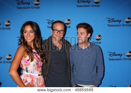 LOS ANGELES - AUG 4:  Chloe Bennet, Clark Gregg, Iain De Caestecker arrives at the ABC Summer 2013 TCA Party at the Beverly Hilton Hotel on August 4, 2013 in Beverly Hills, CA