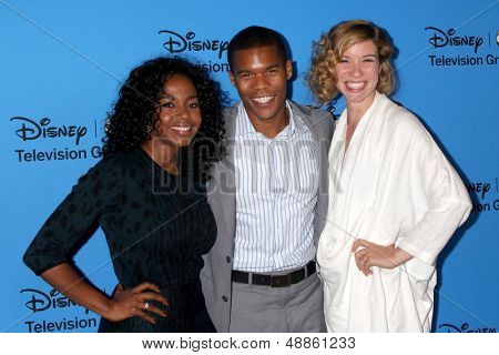 LOS ANGELES - AUG 4:  Jerrika Hinton, Gaius Charles, Tessa Ferrer arrives at the ABC Summer 2013 TCA Party at the Beverly Hilton Hotel on August 4, 2013 in Beverly Hills, CA