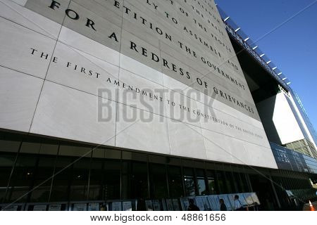 WASHINGTON, D.C. - JULY 29: An exterior view of the Newseum is shown on July 29, 2013 in Washington. The museum is dedicated to news and journalism, worldwide.
