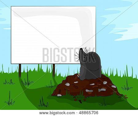 Mole on molehill looking at a billboard, signboard, advertisement, advertising. poster