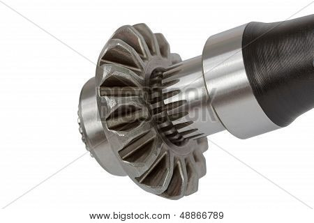 Splined Connection The Conical Pinion And Shaft, Isolated, On A White Background, With Clipping Path