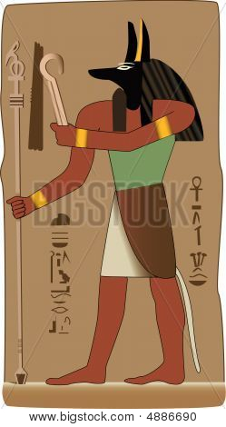 Anubis Egyptian God In Vector With Egyptian Symbol