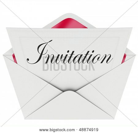 The word Invitation on a card in an envelope formally inviting you to a party or other special event poster