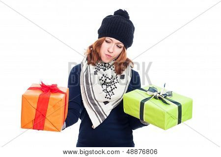 Indecisive Woman With Presents