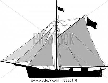 Historic Sailing cargo vessel, cutter with open sails poster