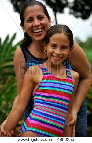 Hispanic Mother And Daughter.