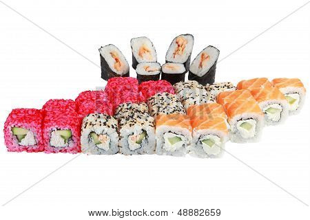 Japanese Cuisine From Rice And Seafood, Set Of 4 Rolls, Philadelphia, California, Fusion, Mini Roll