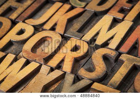 alphabet abstract in vintage letterpress wood type printing blocks