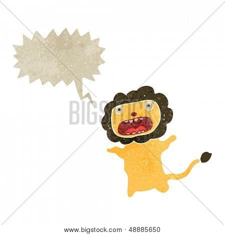 retro cartoon cowardly lion with speech bubble