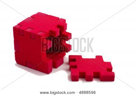 Opened Cube Puzzle. Concept Of Problem Solved.