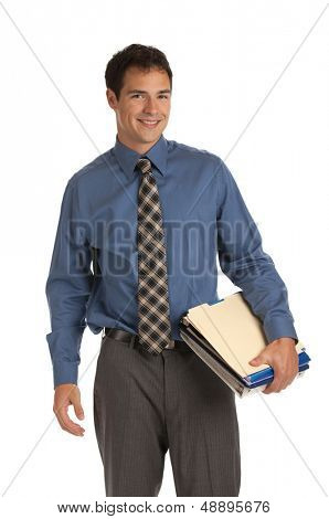 Young Businessman Standing Smiling Holding Business Documents Folder  on Isolate White Background