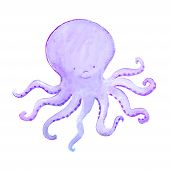 abstract blue baby octopus is waving its tentacles poster