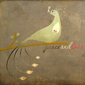 Vintage Christmas Feel of a Peacock on a branch with the words Peace and Love. poster