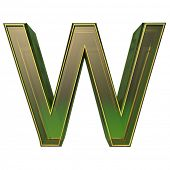 transparent emerald green alphabet with gold edging, 3d letter W isolated on white  poster