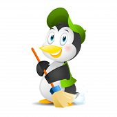 Illustration penguin with a broom, format EPS 10 poster