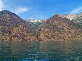 Mountains Overlooking Lake Chelan In Washington State Usa