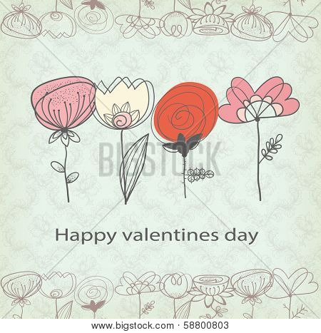 the stylized, decorative, flower, vegetable ornament with heart shaped flowers
