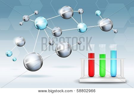 Abstract science background with molecules and test tubes - vector illustration poster