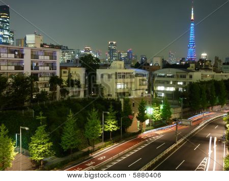 Tokyo Tower Night Distant Photo with Cars