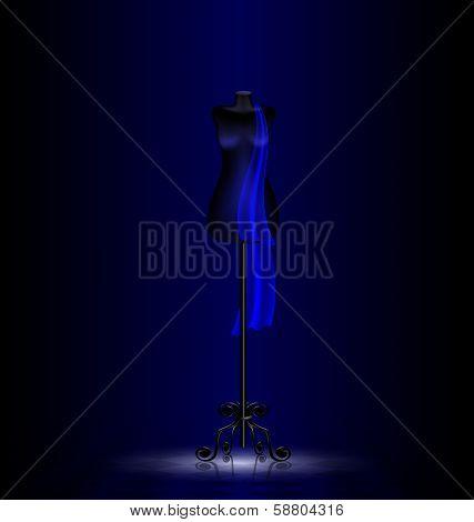 black dummy in the dark room