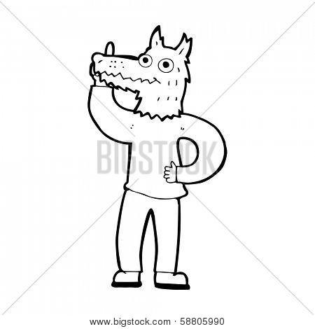cartoon werewolf with idea poster