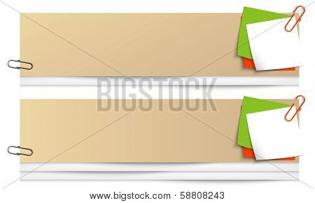 Set Of Two Blank Banners With Colored Notes And Paper Clip