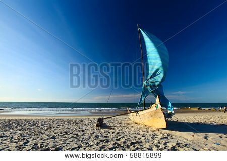 Traditional Malagasy sail boat. Morondava, Madagascar poster