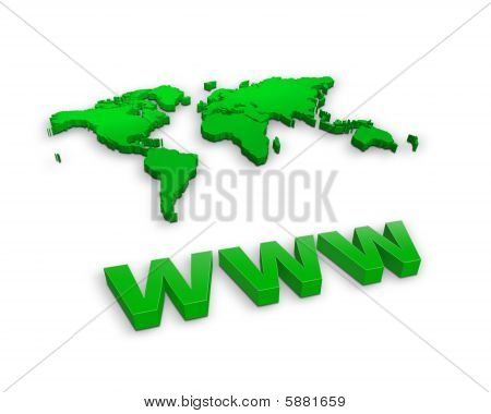 green www and a world map (3d)