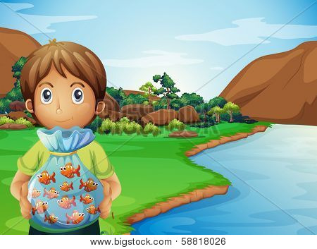 Illustration of a young boy at the riverbank holding a plastic full of fishes