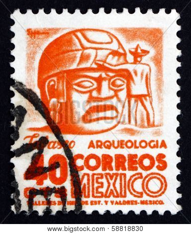 Postage Stamp Mexico 1951 Stone Head, Tabasco