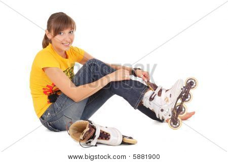 Teenager With Rollerblades
