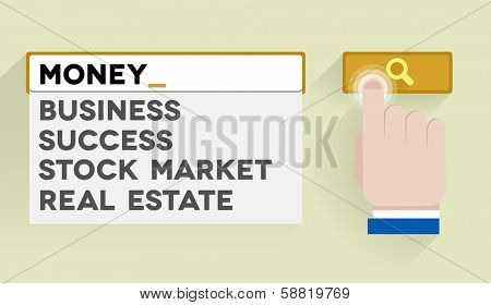 minimalistic illustration of a search bar with money keyword and associations, eps10 vector