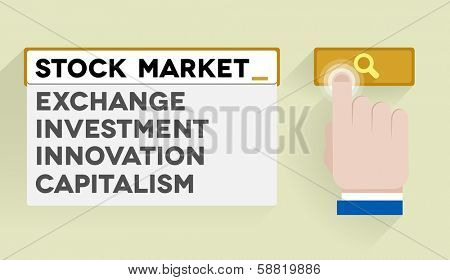 minimalistic illustration of a search bar with stock market keyword and associations, eps10 vector