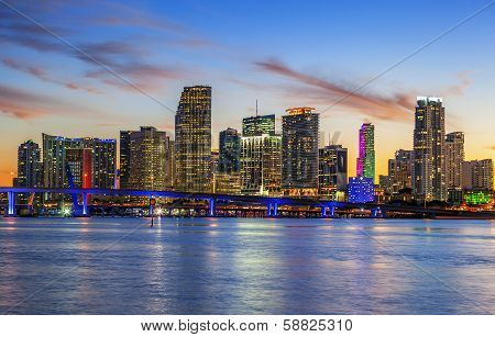 City Of Miami Florida, Summer Sunset