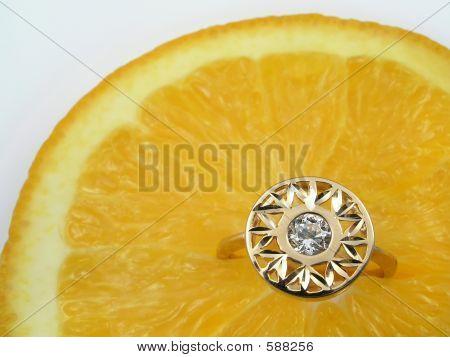 Golden Ring On Orange