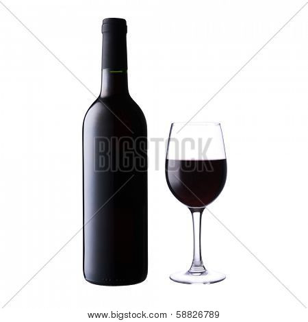 wine bottle and glass isolated