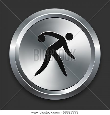 Bowling Icon on Metallic Button Collection