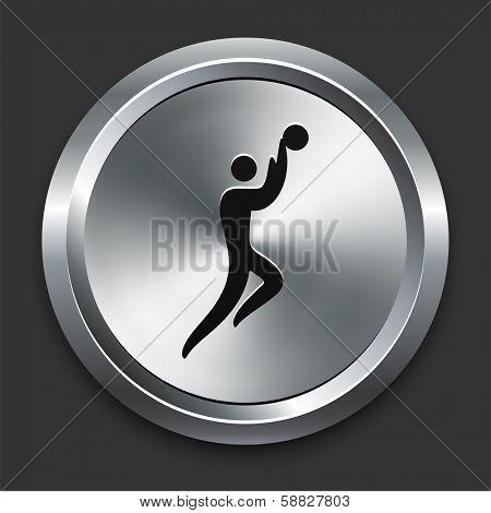 Basketball Icon on Metallic Button Collection