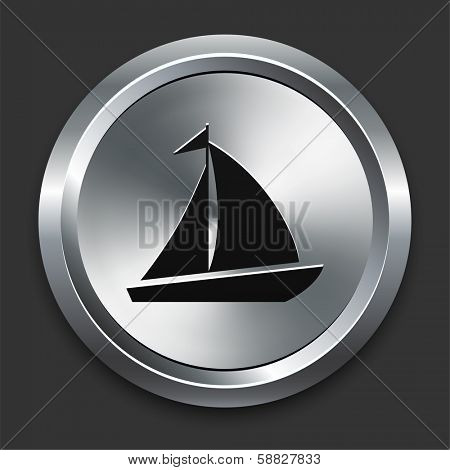Sail Boat Icon on Metallic Button Collection poster