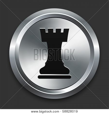 Rook Icon on Metallic Button Collection