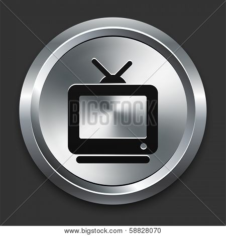 Television Icon on Metallic Button Collection poster