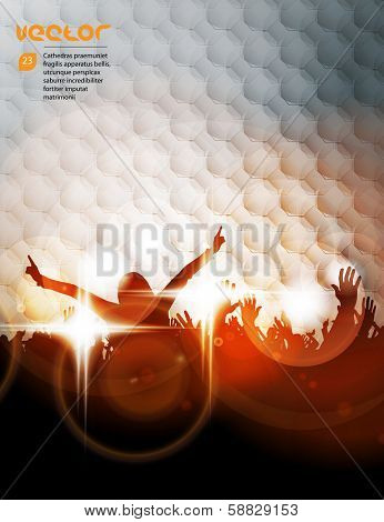 Concert crowd in front of stage. Vector illustration