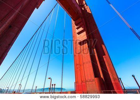 Golden Gate Bridge detail in San Francisco California USA