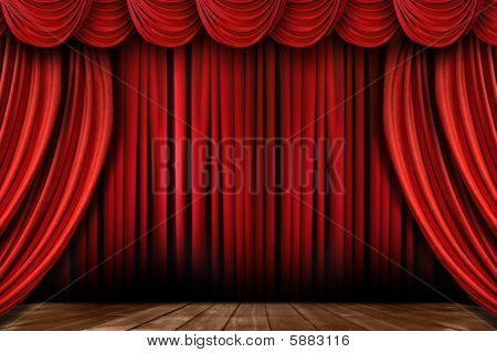Bright Red Stage Drapes With Many Swags