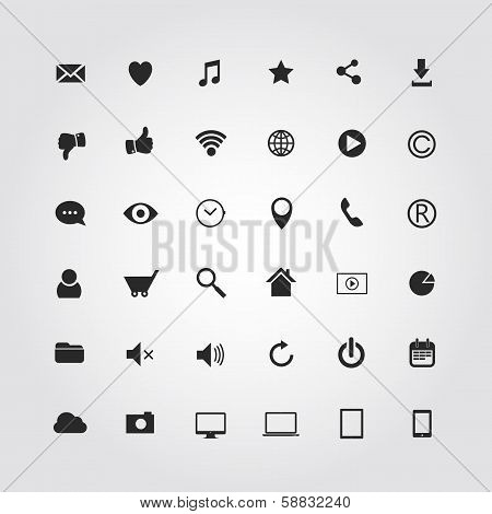 36 web media icons set. Vector illustration