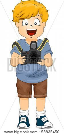 Illustration of a Little Boy Holding a DSLR Camera