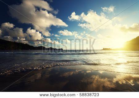 sunset on the tropical beach, Mahe island, Seychelles