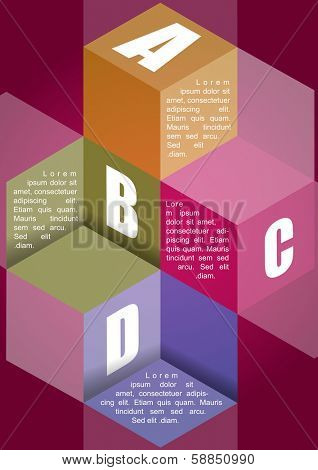 ABCD vector background with four steps and place for content in 3d cubes