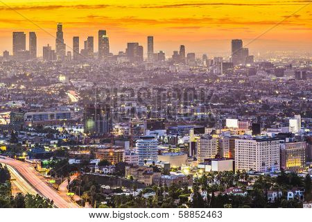 Los Angeles, California, USA early morning downtown cityscape.