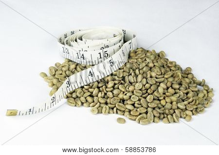 Green Coffee Beans With Tape Measure